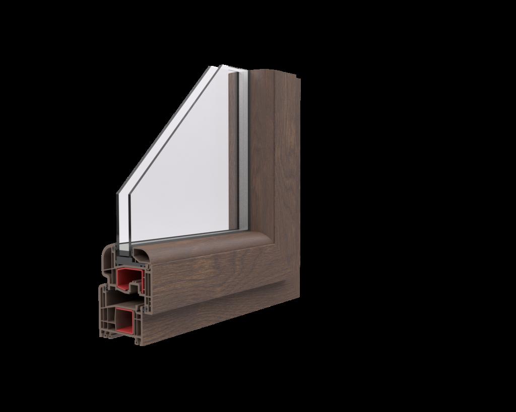 róg okna z brązową ramą